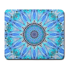 Sapphire Ice Flame, Light Bright Crystal Wheel Large Mousepads by DianeClancy