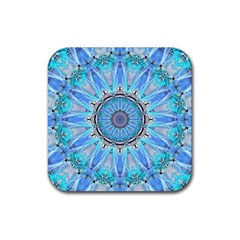 Sapphire Ice Flame, Light Bright Crystal Wheel Rubber Square Coaster (4 Pack)  by DianeClancy