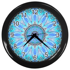 Sapphire Ice Flame, Light Bright Crystal Wheel Wall Clocks (black) by DianeClancy