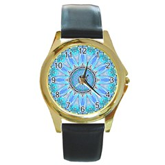 Sapphire Ice Flame, Light Bright Crystal Wheel Round Gold Metal Watch by DianeClancy