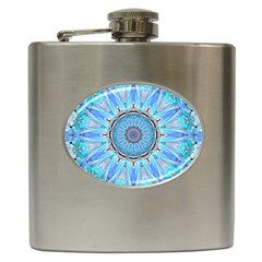 Sapphire Ice Flame, Light Bright Crystal Wheel Hip Flask (6 Oz) by DianeClancy