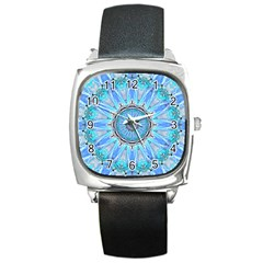 Sapphire Ice Flame, Light Bright Crystal Wheel Square Metal Watch by DianeClancy