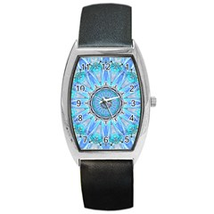 Sapphire Ice Flame, Light Bright Crystal Wheel Barrel Style Metal Watch by DianeClancy