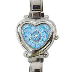 Sapphire Ice Flame, Light Bright Crystal Wheel Heart Italian Charm Watch by DianeClancy