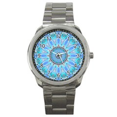 Sapphire Ice Flame, Light Bright Crystal Wheel Sport Metal Watch by DianeClancy