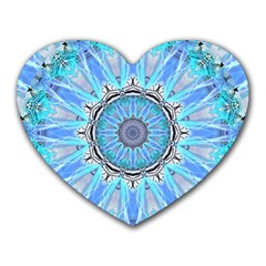 Sapphire Ice Flame, Light Bright Crystal Wheel Heart Mousepads by DianeClancy