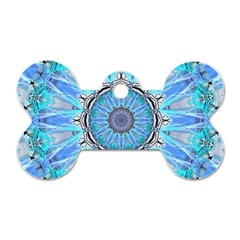 Sapphire Ice Flame, Light Bright Crystal Wheel Dog Tag Bone (one Side)