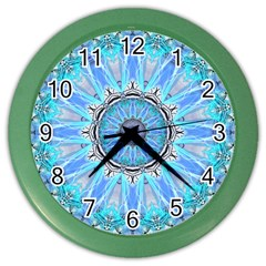 Sapphire Ice Flame, Light Bright Crystal Wheel Color Wall Clocks by DianeClancy