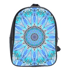 Sapphire Ice Flame, Light Bright Crystal Wheel School Bags(large)  by DianeClancy