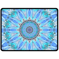 Sapphire Ice Flame, Light Bright Crystal Wheel Fleece Blanket (large)  by DianeClancy