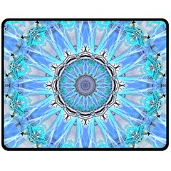Sapphire Ice Flame, Light Bright Crystal Wheel Fleece Blanket (medium)  by DianeClancy