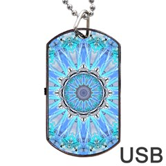 Sapphire Ice Flame, Light Bright Crystal Wheel Dog Tag Usb Flash (one Side) by DianeClancy