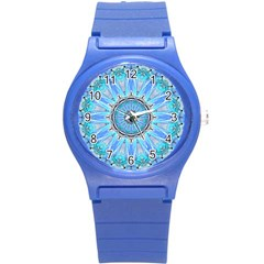 Sapphire Ice Flame, Light Bright Crystal Wheel Round Plastic Sport Watch (s) by DianeClancy