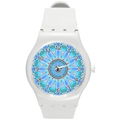 Sapphire Ice Flame, Light Bright Crystal Wheel Round Plastic Sport Watch (m) by DianeClancy