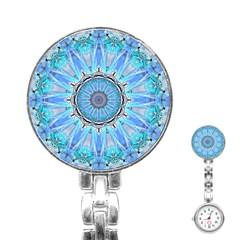 Sapphire Ice Flame, Light Bright Crystal Wheel Stainless Steel Nurses Watch by DianeClancy