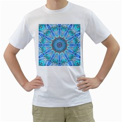 Sapphire Ice Flame, Light Bright Crystal Wheel Men s T Shirt (white)  by DianeClancy