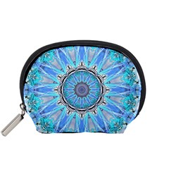 Sapphire Ice Flame, Light Bright Crystal Wheel Accessory Pouches (small)  by DianeClancy