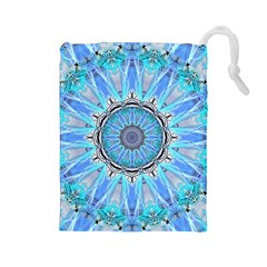Sapphire Ice Flame, Light Bright Crystal Wheel Drawstring Pouches (large)  by DianeClancy