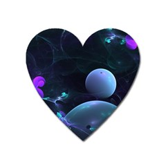 The Music Of My Goddess, Abstract Cyan Mystery Planet Heart Magnet by DianeClancy