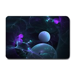 The Music Of My Goddess, Abstract Cyan Mystery Planet Small Doormat  by DianeClancy