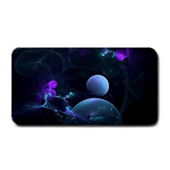 The Music Of My Goddess, Abstract Cyan Mystery Planet Medium Bar Mats by DianeClancy
