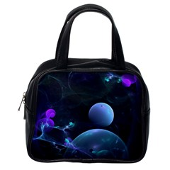 The Music Of My Goddess, Abstract Cyan Mystery Planet Classic Handbags (one Side) by DianeClancy