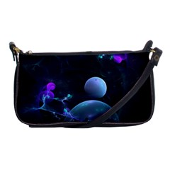 The Music Of My Goddess, Abstract Cyan Mystery Planet Shoulder Clutch Bags by DianeClancy