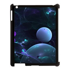 The Music Of My Goddess, Abstract Cyan Mystery Planet Apple Ipad 3/4 Case (black) by DianeClancy