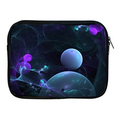 The Music Of My Goddess, Abstract Cyan Mystery Planet Apple Ipad 2/3/4 Zipper Cases by DianeClancy