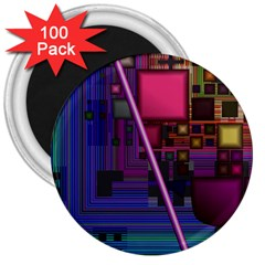 Jewel City, Radiant Rainbow Abstract Urban 3  Magnets (100 Pack) by DianeClancy
