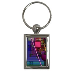Jewel City, Radiant Rainbow Abstract Urban Key Chains (rectangle)  by DianeClancy