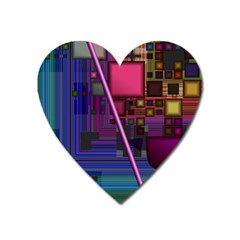 Jewel City, Radiant Rainbow Abstract Urban Heart Magnet by DianeClancy