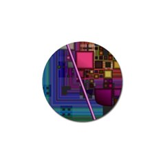 Jewel City, Radiant Rainbow Abstract Urban Golf Ball Marker by DianeClancy