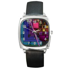 Jewel City, Radiant Rainbow Abstract Urban Square Metal Watch