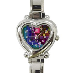 Jewel City, Radiant Rainbow Abstract Urban Heart Italian Charm Watch by DianeClancy