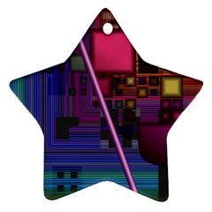 Jewel City, Radiant Rainbow Abstract Urban Star Ornament (two Sides)  by DianeClancy