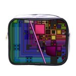 Jewel City, Radiant Rainbow Abstract Urban Mini Toiletries Bags Front