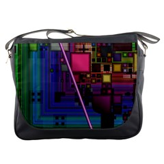 Jewel City, Radiant Rainbow Abstract Urban Messenger Bags by DianeClancy