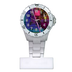 Jewel City, Radiant Rainbow Abstract Urban Plastic Nurses Watch by DianeClancy