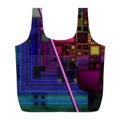 Jewel City, Radiant Rainbow Abstract Urban Full Print Recycle Bags (l)  by DianeClancy