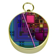 Jewel City, Radiant Rainbow Abstract Urban Gold Compasses by DianeClancy