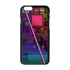 Jewel City, Radiant Rainbow Abstract Urban Apple Iphone 6/6s Black Enamel Case by DianeClancy