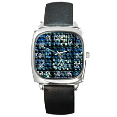 Looking Out At Night, Abstract Venture Adventure (venture Night Ii) Square Metal Watch by DianeClancy