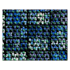Looking Out At Night, Abstract Venture Adventure (venture Night Ii) Rectangular Jigsaw Puzzl by DianeClancy