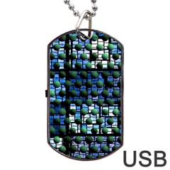 Looking Out At Night, Abstract Venture Adventure (venture Night Ii) Dog Tag Usb Flash (two Sides)  by DianeClancy