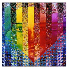 Conundrum I, Abstract Rainbow Woman Goddess  Large Satin Scarf (square) by DianeClancy