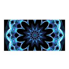 Crystal Star, Abstract Glowing Blue Mandala Satin Wrap by DianeClancy
