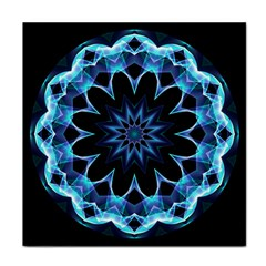 Crystal Star, Abstract Glowing Blue Mandala Face Towel by DianeClancy