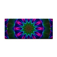 Star Of Leaves, Abstract Magenta Green Forest Hand Towel by DianeClancy