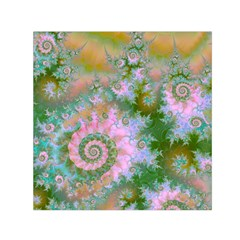 Rose Forest Green, Abstract Swirl Dance Small Satin Scarf (square) by DianeClancy